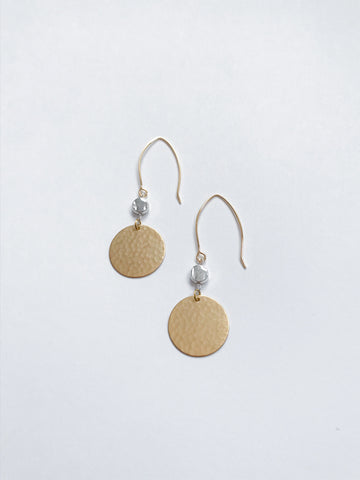 Silver & Gold Hammered Disk Earrings