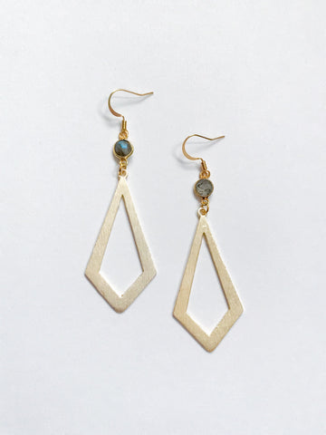 Gold Labradorite Rhombus Drop Earrings