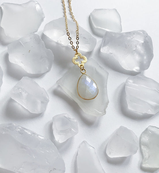 Clover & Moonstone Drop Necklace