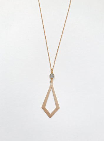 Gold Labradorite Rhombus Necklace
