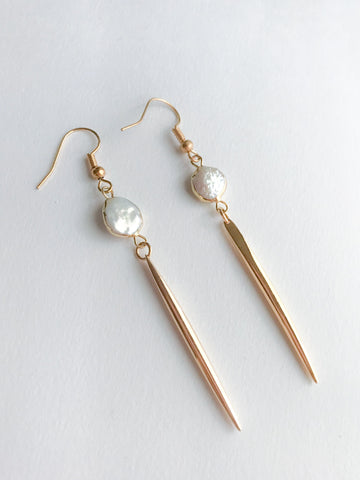 Mother of Pearl Spike Earrings