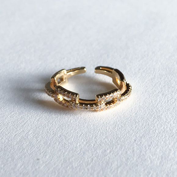 CZ Gold Link Ring