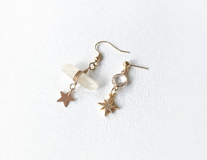 Star + Quartz Asymmetrical Earrings