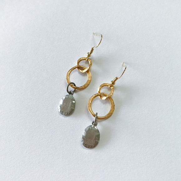 Gold & Silver Hammered Earrings