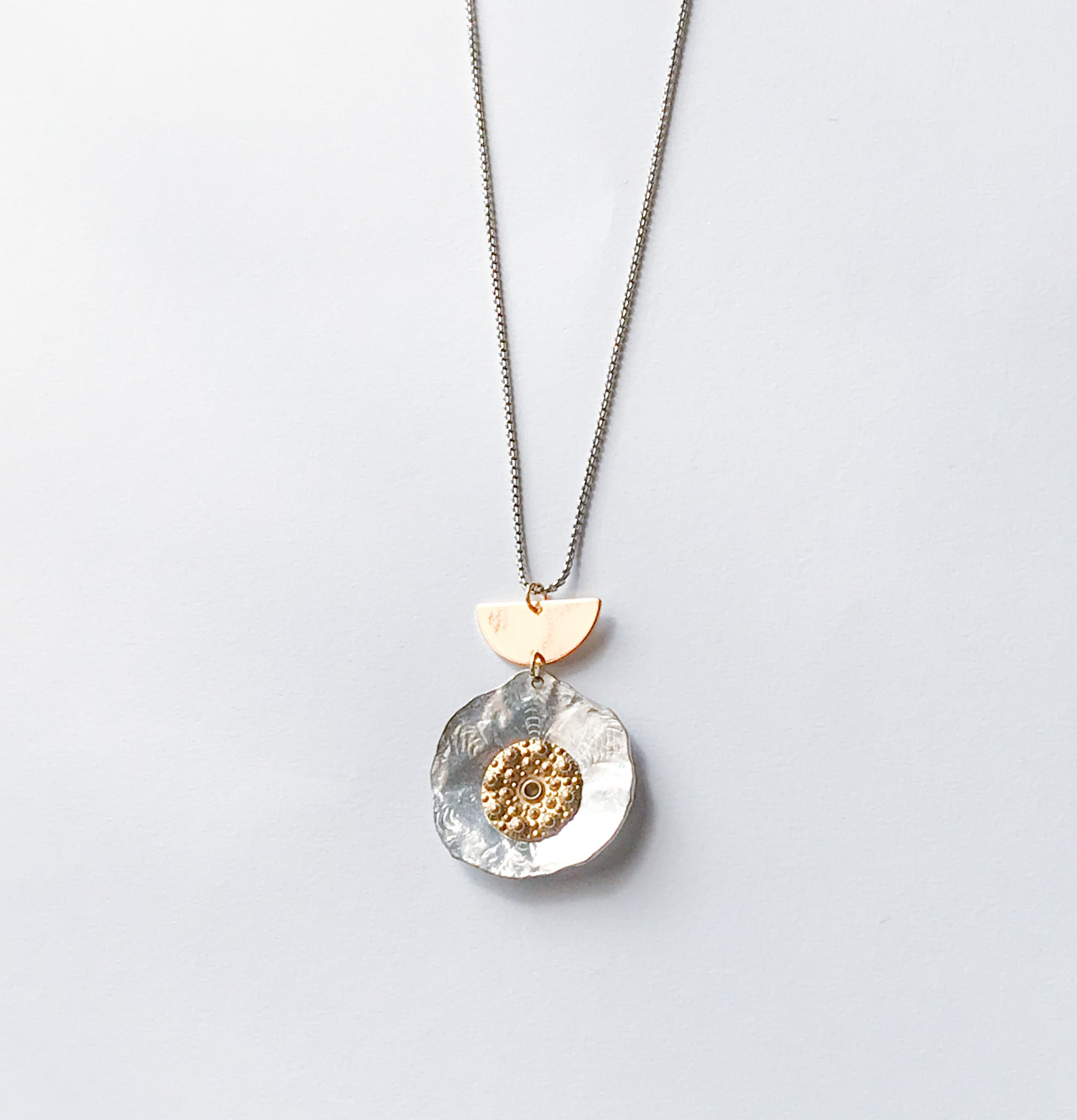 Gold & Silver Hammered Disk Necklace