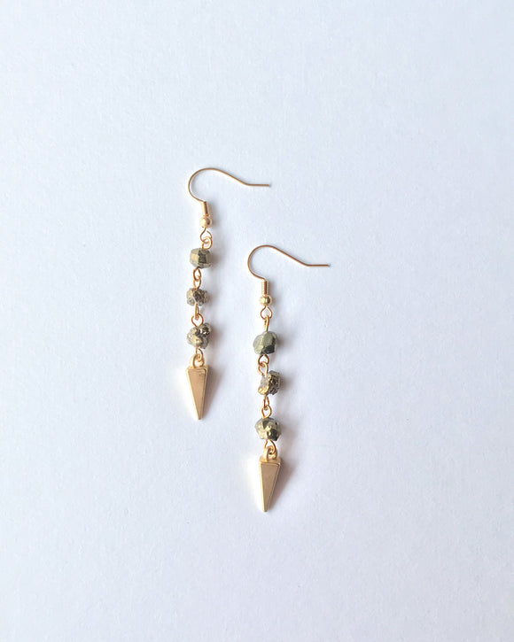 Triple Pyrite Earrings
