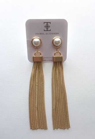 Gold Tassel Pearl Stud Earrings