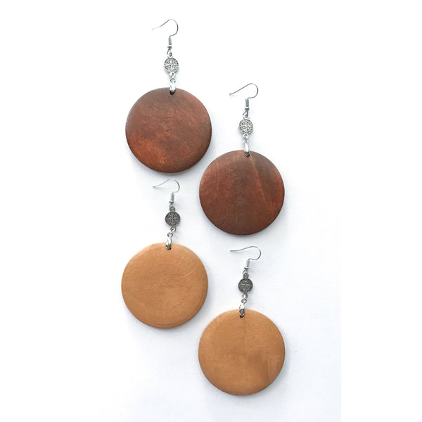 Wood Disk Earrings