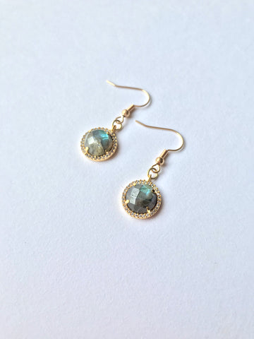 Mini Medallion Labradorite Earrings