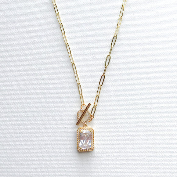 Crystal Toggle Closure Necklace
