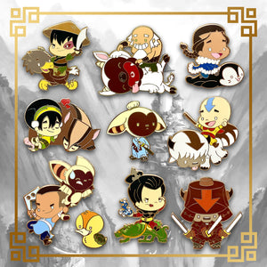 Avatar - The Last Airbender hard enamel pin set featuring Aang, Katara, Sokka, Appa, Momo, Zuko, Azula, Toph, and Bumi. Free Turtle Duck pin and Free U.S. shipping with every collection order. Uncle Iroh, White Lotus, Fire Nation, Water Tribe, Earth Kingdom, Ba Sing Se, earth bending, fire bending, air bending, water bending