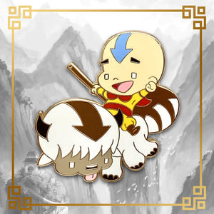 Avatar - The Last Airbender Aang and Appa hard enamel pin, 1.75 inches tall, gold plating. Katara, Toph, Bumi, Azula, Sokka, Zuko, Uncle Iroh, White Lotus, Fire Nation, Water Tribe, Earth Kingdom, Ba Sing Se, earth bending, fire bending, air bending, water bending
