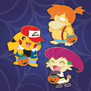 Halloween Pokemon 3 piece hard enamel pin set featuring Pikachu as Ash, Psyduck as Misty and Meowth as Team Rocket's Jessie. Gold plating.