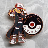 Pokemon Ash Ketchum as Avengers Agents of SHIELD Nick Fury rose gold enamel pin