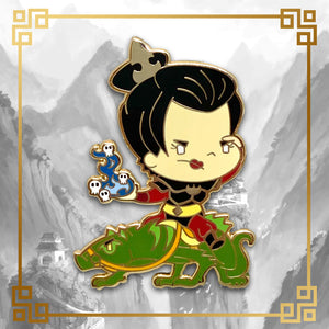 Avatar - The Last Airbender Azula hard enamel pin with mongoose lizard, 1.8 inches tall, gold plating. Aang, Appa, Zuko, Sokka, Momo, Bumi, Toph, Katara, Uncle Iroh, Fire Nation, Water Tribe, Earth Kingdom, Ba Sing Se, earth bending, fire bending, air bending, water bending
