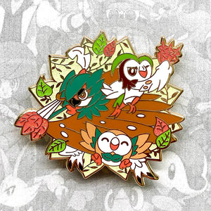 Pokemon Rowlet, Dartrix, Decidueye evolution enamel pin