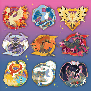 Pokemon legendary bird 9 piece hard enamel pin set