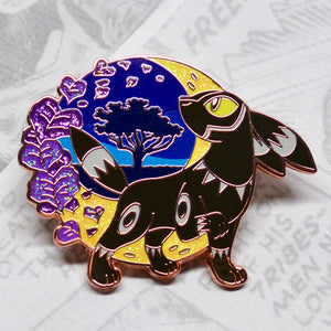 Rose gold enamel pin of Black Panther (Umbreon)