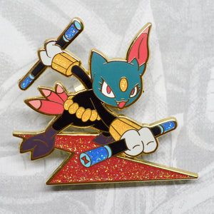 Pokemon Sneasel as Avengers Black Widow gold enamel pin