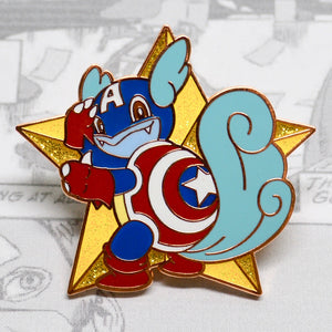 Rose gold enamel pin of Pokemon Wartortle as Avengers Captain America