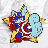 Gold enamel pin of Pokemon Wartortle as Avengers Captain America