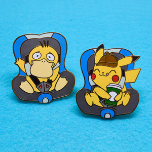 Pokemon Detective Pikachu baby Pikachu and Baby Psyduck carseat enamel pins