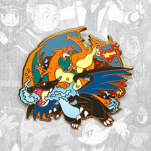 Pokemon Charizard, Charizard X, Charizard Y evolution enamel pin