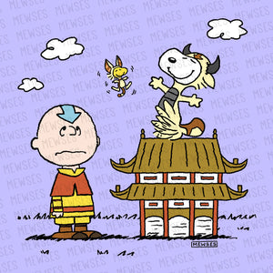 Avatar - The Last Airbender 8x8 wall art poster print featuring Charlie Brown as Aang, Snoopy as Appa, and Woodstock as Momo.
