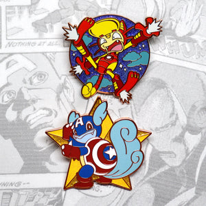 Pokemon Avengers Wartortle as Captain America Meowth as Iron Man enamel pin