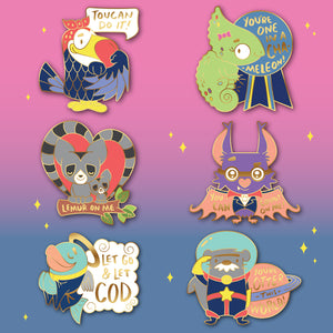 Collection of all 6 positive, inspirational hard enamel pins. Inspiring messages, cute kawaii animal puns. You Can Do It. We Can Do It. Valentine's Day gift, Romance, Romantic gift, friendship, positive affirmation, woodlawn, Lean On Me, You're Out Of This World, One In A Million, Count On Me, fun