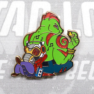 Pokemon Cubone and Machamp as Avengers Guardians of the Galaxy Star Lord and Drax enamel pin