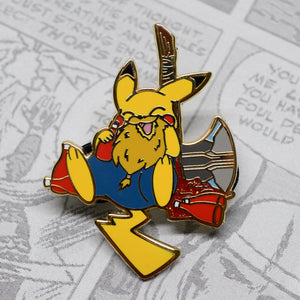 Pokemon Pikachu meets Fat Thor in this adorable hard enamel pin, gold plating. Pikachu enamel pin, Riachu enamel pin, Pichu enamel pin, Marvel Comics pins, MCU Phase 4, Thor Ragnarak, Thor Love and Thunder pin, Valkyrie pin, Jane Foster, Chris Hemsworth, Natalie Portman, Loki enamel pin, Tom Hiddleston, Thor enamel pin, Avengers Infinity War, Endgame, Stormbreaker enamel pin, Asgard, Mjolnir enamel pin, Hela enamel pin