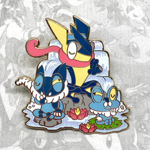 Pokemon Froakie, Frogadier, Greninja evolution enamel pin