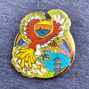 Pokemon legendary bird Ho-Oh hard enamel pin