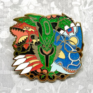 Pokemon Primal Groudon, Primal Kyogre, Mega Rayquaza weather trio enamel pin