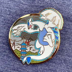 Pokemon legendary bird Lugia hard enamel pin