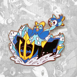 Pokemon Piplup, Prinplup, Empoleon evolution enamel pin