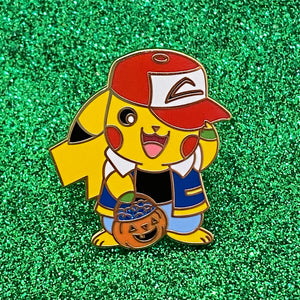 Halloween Pokemon Pikachu trick or treat as Ash Ketchum hard enamel pin gold plated