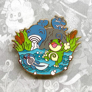 Pokemon Poliwag, Poliwhirl, Poliwrath, Politoed evolution enamel pin