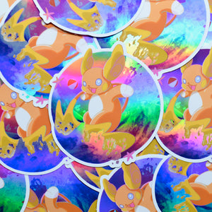 Pokemon Raichu Surfing Holographic Vinyl Sticker