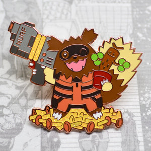 Gold or rose gold hard enamel pin of Rocket Raccoon (Zigzagoon) and Groot (Sudowoodo) of the Avengers / Guardians of the Galaxy and Pokemon. Rocket Raccoon enamel pin, Zigzagoon enamel pin, I Am Groot, Baby Groot enamel pin, Star Lord, Peter Quill, Chris Pratt, Drax, Gamora, Mantis, Nebula, Infinity War, Endgame, Marvel Comics, MCU Phase 4