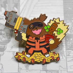 Gold Avengers Guardians of the Galaxy Rocket Raccoon (Zigzagoon) and Groot (Sudowoodo) pokemon enamel pin