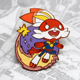 Rose gold Captain Marvel (Scorbunny) enamel pin
