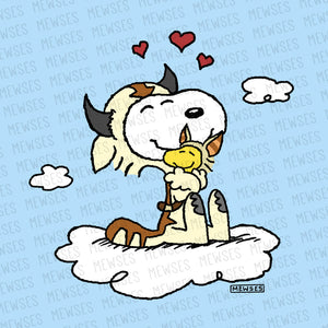 Avatar - The Last Airbender 8x8 wall art print, poster featuring Snoopy as Appa and Woodstock as Momo