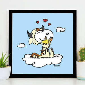Avatar - The Last Airbender 8x8 wall art poster print featuring Snoopy as Appa and Woodstock as Momo