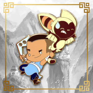 Avatar - The Last Airbender Sokka and Momo hard enamel pin with badger mole, 2.15 inches tall, gold plating. Aang, Appa, Zuko, Bumni, Azula, Toph, Katara, Uncle Iroh, White Lotus, Fire Nation, Water Tribe, Earth Kingdom, Ba Sing Se, earth bending, fire bending, air bending, water bending