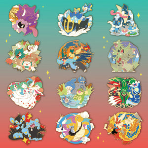 [Pokemon] Three's Company - The Complete 12 Piece Enamel Pin Set