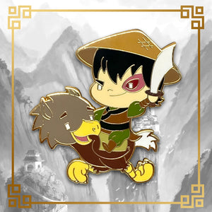 Avatar - The Last Airbender Zuko hard enamel pin with ostrich horse, 1.75 inches tall, gold plating. Aang, Appa, Toph, Bumi, Azula, Sokka, Momo, Katara, Uncle Iroh, White Lotus, Fire Nation, Water Tribe, Earth Kingdom, Ba Sing Se, earth bending, fire bending, air bending, water bending