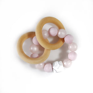 Pink Marble Teether Rattle