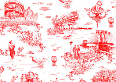 Brooklyn Toile  Wallpaper by Flavor Paper - Urbanspace Interiors